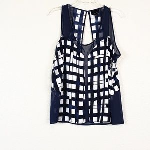 Lumiere blue and white shear panel top